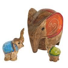 set of 3 autumn elephant family carved wood hand painted figurine