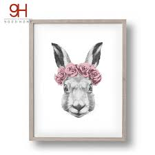 rabbit poster rabbit drawing with canvas print painting poster wall