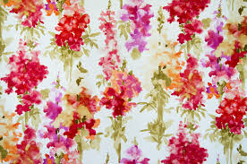 Red Drapery Fabric Watercolor Fabric Red Floral Garden Snap Dragons Contemporary