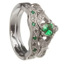 engagement and wedding ring set 14k white gold emerald set heart claddagh ring wedding ring set