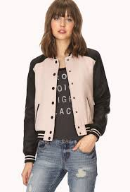light pink blazer forever 21 lyst forever 21 standout boucl eacute varsity jacket in black