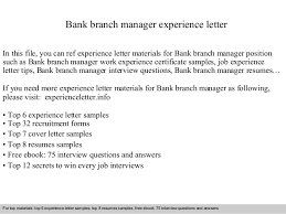 Bank Branch Manager Resume Bank Branch Manager Experience Letter 1 638 Jpg Cb U003d1409563933