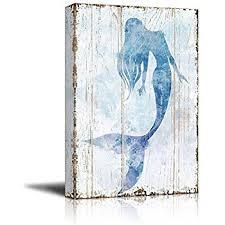 Amazon Young s Wood Mermaid Wall Art 19 25 Inch Prints