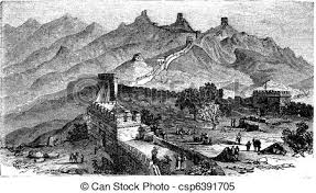 clipart vector of great wall of china during the 1890s vintage