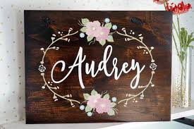 Baby Name Decor For Nursery Custom Name Sign Nursery Wall Painted Flowers Shabby Chic