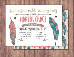 Baby Boy First Birthday Invitation Cards Tribal Birthday Invitation Boho Birthday Invite Feathers