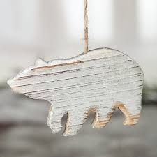 rustic white washed wood polar ornament ornaments