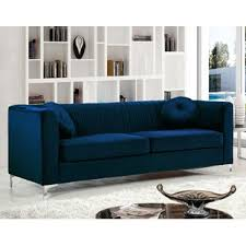 deep blue velvet sofa navy blue velvet sofa wayfair
