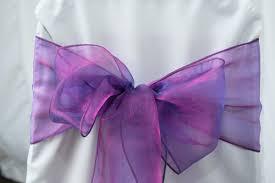 purple chair sashes organza chair sashes beautiful flowers florist hutt