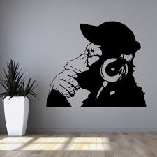 banksy vinyl wall decal rock monkey with by foreverstudio on etsy banksy vinyl wall decal rock monkey with by foreverstudio on etsy