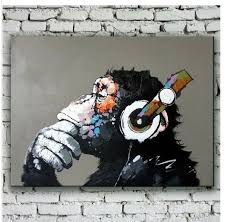 painting for home decoration modern gorilla monkey music oil painting wall painting canvas