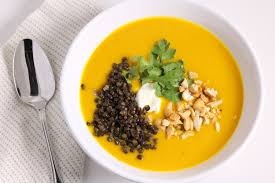 curried butternut squash soup with fried lentils three hungry boys