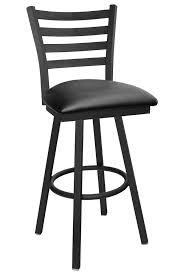 Swivel Bar Stool With Back Gladiator Ladder Back Swivel Bar Stool With Black Vinyl Seat