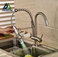 Rozin Led Light Spray Kitchen by Frap Silver Double Handle Kitchen Faucet Mixer Cold And