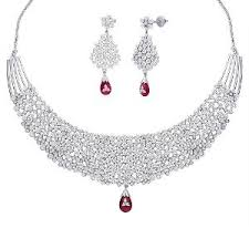 zircon necklace set images Necklace set studded with cubic zircons rubies by peora pn315s jpg