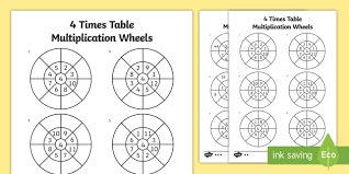 wheels world play table 4 times table multiplication wheels worksheet activity sheet