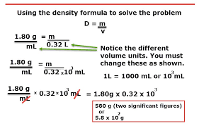 dimensional analysis density conversion factor mass volume