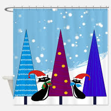 christmas cat shower curtains christmas cat fabric shower