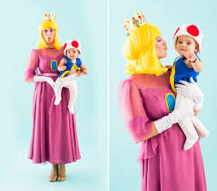 Mother Daughter Matching Halloween Costumes Dress Princess Peach Toad Halloween