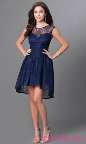 navy blue cheap high low homecoming dress promgirl