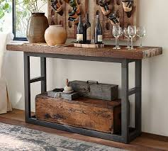Metal And Wood Sofa Table by Griffin Reclaimed Wood Console Table Pottery Barn