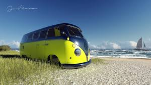Wallpaper Render Beach Volkswagen Vw Kombi Yellow Van Bus