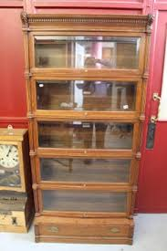 Globe Wernicke Bookcase 299 Antique Oak Globe Wernicke Leaded Glass Barrister Lawyer Bookcase