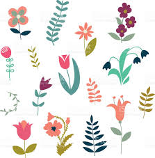 set of simple cute plants and flowers stock vector art 484009204