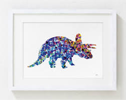 blue dinosaur print watercolor print 5x7 archival print