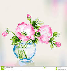 Flowers In Vases Images Spring Watercolor Flowers In Vase Stock Photos Image 37796703