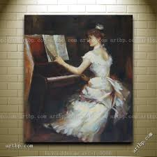 an elegant lady playing piano oil painting impressionism portrait woman abstract canvas wall art blue items