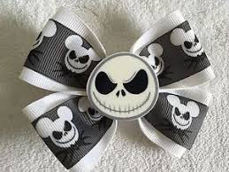 skellington ribbon hair bow 4 wide skellington ribbon white flatback