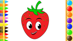 how to draw fruits strawberry and coloring pages for learning