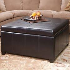 Gray Leather Ottoman Brown Ottomans Footstools And Poufs Ebay