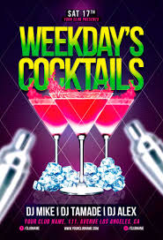 weekdays cocktails flyer template awesomeflyer awesomeflyer
