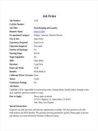 Calljobs 8 Examples Of Job Orders