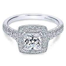 princess cut engagement rings white gold 14k white gold pave shank and princess cut halo 14k white