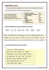 41 free esl adjectives order of adjectives worksheets
