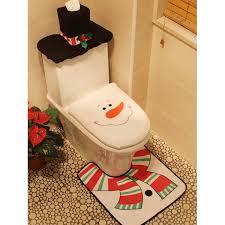 3 pcs christmas snowman bathroom set white fun