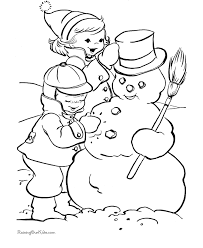 coloring pages making snowman