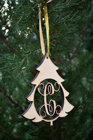 wooden ornament christmas tree with connected initial 1 8