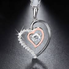 silver double heart necklace images Silver double heart crystal necklace jpg