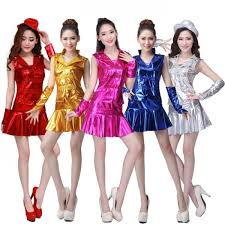 Hip Hop Halloween Costumes Girls Royal Blue Fuchsia Pink Gold Silver Red Sequins Leather