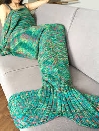 stylish crochet knitted super soft mermaid tail shape blanket for