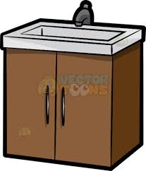 a bathroom sink with cabinets cartoon clipart vector toons