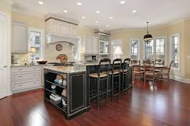 shinny kitchens design with hardwood island and natural light