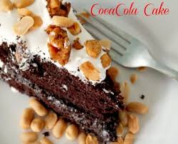 double fudge coca cola chocolate cake with salted peanut brittle