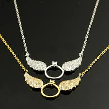 gold wings necklace images Rose gold plated messengers cz angel wing statement necklace women jpg
