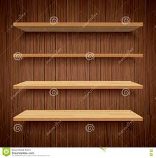 wood bookshelves on brown wood wall background flat design stock