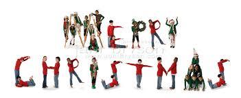 diverse children from around the world spell merry